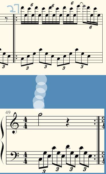 如图所示第27-49小节有反复记号 ,那么反复记号之间的小节