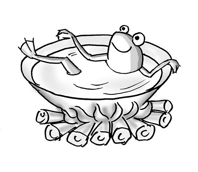 青蛙垃圾桶手绘