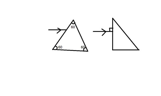 物理:画出玻璃等边三角形和玻璃直角三角形的折射
