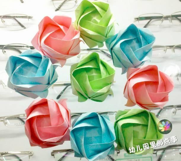 幼儿园创意亲子手工折纸之玫瑰花