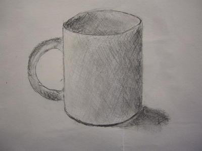 杯子素描画