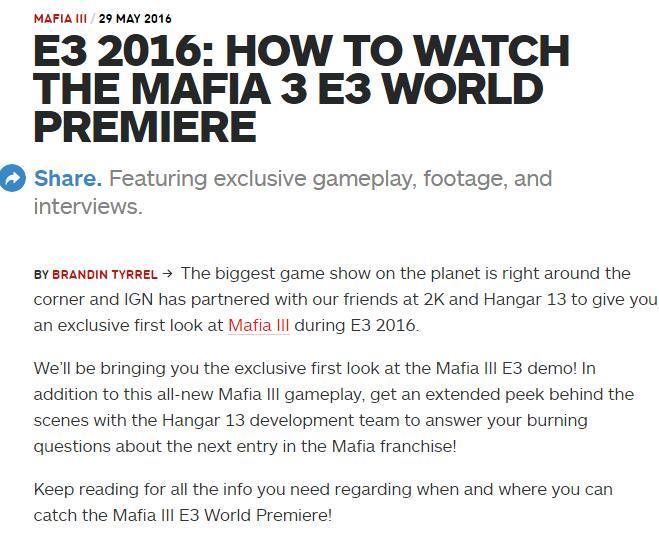《黑手党3》E3新演示