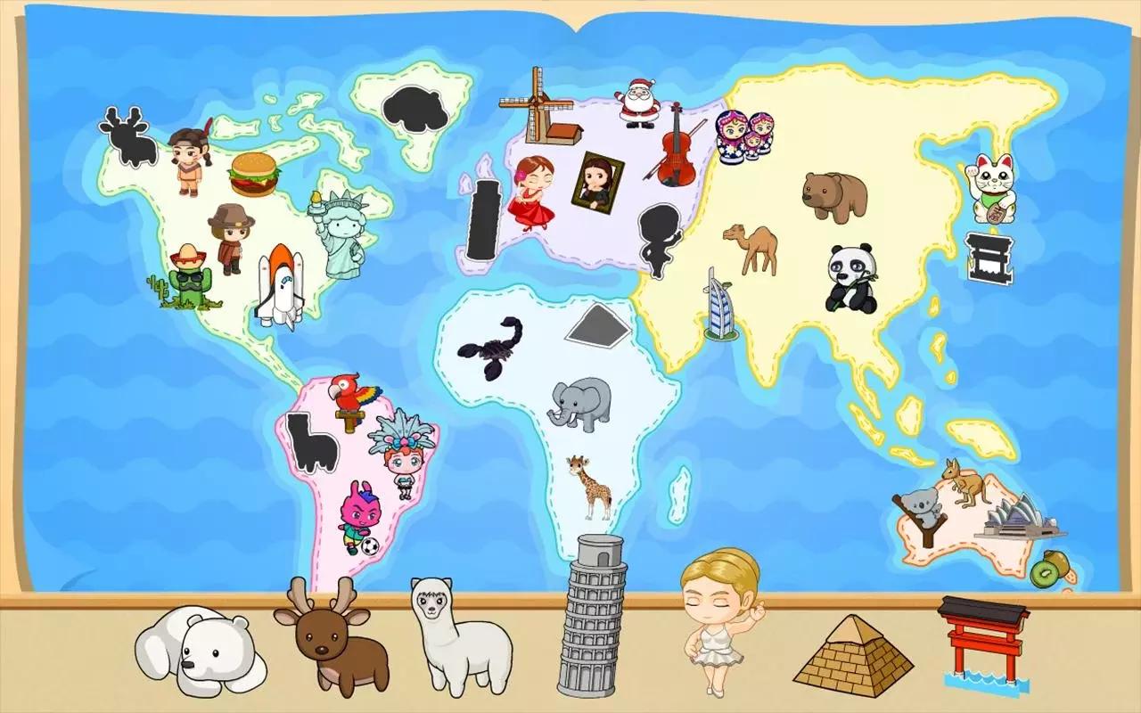 小学堂的趣味抢答☆增进专注力与耐心的益智拼图☆世界地图贴纸收集簿