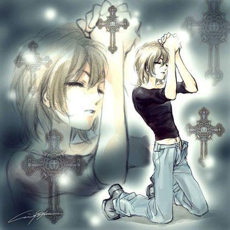 求动漫人物闭眼祈祷图片 背影也行 最好是男生的