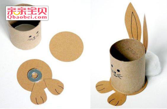 纸筒兔子收纳笔筒制作方法