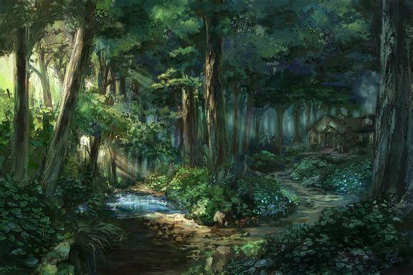 求动漫森林舞会场景素材